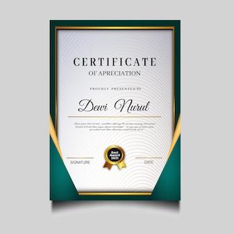 Modèle de réussite de certificat vert élégant