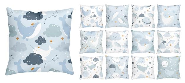 Modèle de rêve de nuit avec une baleine de l'espace mignonne flottant dans le ciel étoilé
