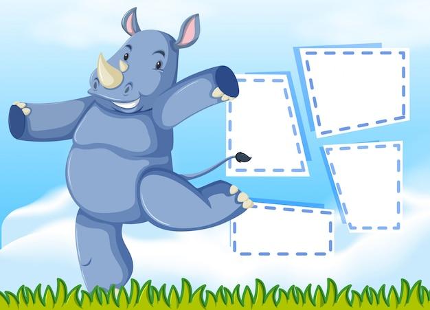 Un modèle de rhinocéros sur une note