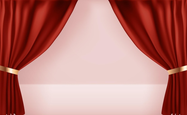 Modèle de rideaux ouverts 3d réaliste.