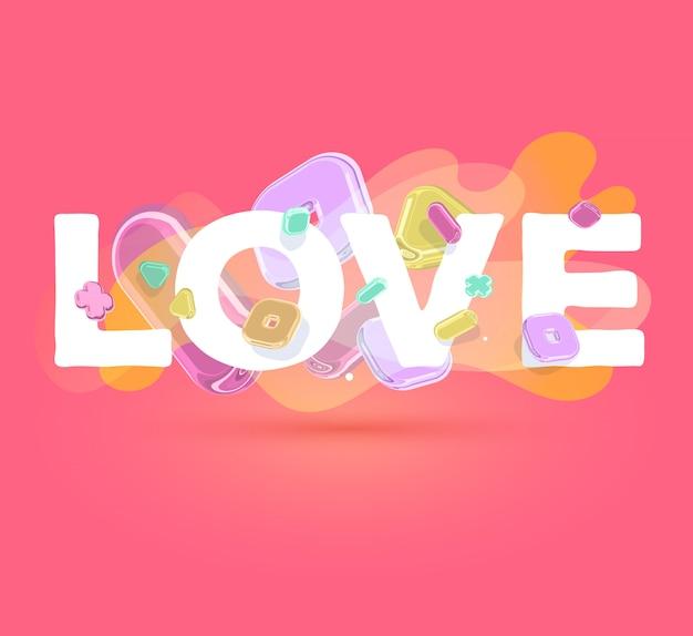 Modèle romantique moderne avec des éléments en cristal lumineux et mot amour sur fond rouge avec une ombre.