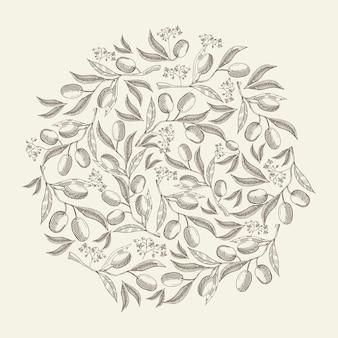 Modèle rond floral de croquis abstrait