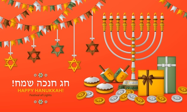 Modèle rouge de hanoukka avec torah, menorah et dreidels. carte de voeux. traduction happy hanukkah