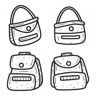 Modèle de sac de dessin animé doodle