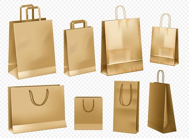 Modèle de sac en papier artisanal. ensemble de paquets en carton cadeau blanc isolé. modèle de sac en papier pour la conception de l'image de marque au détail. ensemble de vue avant de magasin marron.
