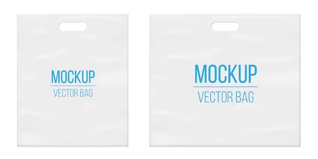 Modèle de sac en plastique blanc vide vide.