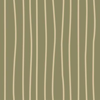 Modèle de safari sans couture à la mode dans des tons bruns verts naturels lignes verticales abstraites dessinées à la main