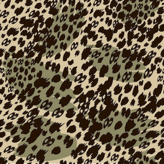 Modèle de safari sans couture à la mode dans des tons naturels verts et marrons formes animales abstraites