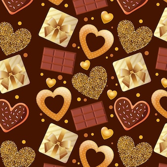 Modèle de saint valentin avec des barres de chocolat et des coeurs.