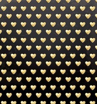 Modèle de la saint-valentin avec des coeurs dorés.