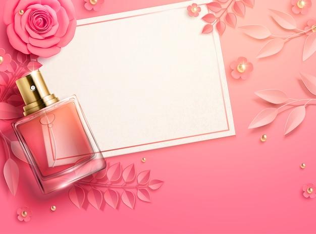 Modèle de la saint-valentin avec des fleurs en papier rose et une bouteille de parfum en illustration 3d, vue de dessus