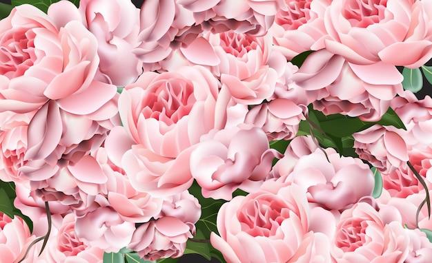Modèle de saint valentin roses roses vector illustrations réalistes