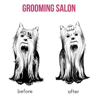 Modèle de salon de chien de beauté