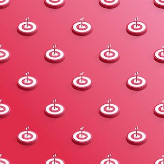 Modèle sans couture 3d de cible avec des coeurs et des flèches isolés sur un fond rouge vector illustrati