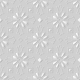 Modèle sans couture 3d papier art vintage croix fleur kaléidoscope