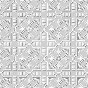 Modèle sans couture 3d papier blanc coupé art fond carré croix fleur étoile