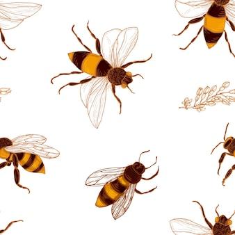 Modèle sans couture avec abeilles et branches de plantes d'acacia