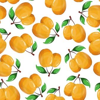 Modèle sans couture d'abricot sur blanc