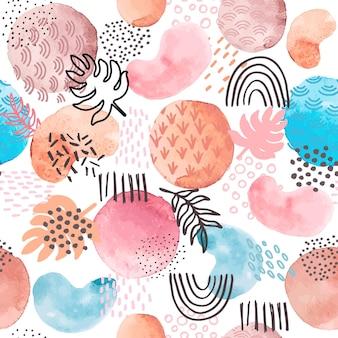 Modèle sans couture abstrait aquarelle. formes de peinture artistique créative et griffonnages géométriques, élément floral de points. texture d'art vectoriel. modèle d'aquarelle d'illustration, art abstrait de couleur artistique