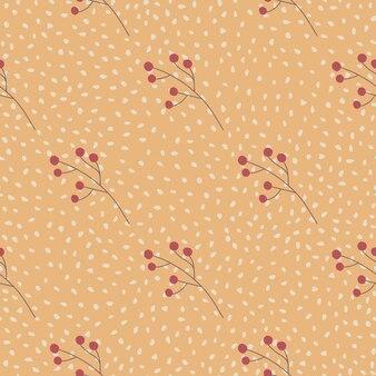 Modèle sans couture abstrait avec des branches de baies rouges minimalistes