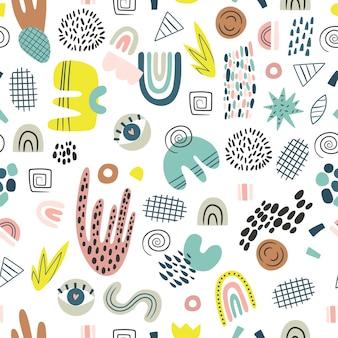 Modèle sans couture abstrait de dessin animé formes irrégulières dessinées à la main avec des rayures de points et des lignes isolées