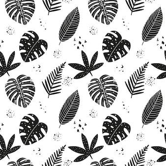 Modèle sans couture abstrait dessiné à la main avec des feuilles tropicales.
