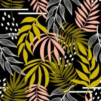 Un modèle sans couture abstrait avec des feuilles tropicales