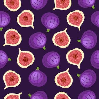 Modèle sans couture abstrait avec des figues entières et demi sur fond violet