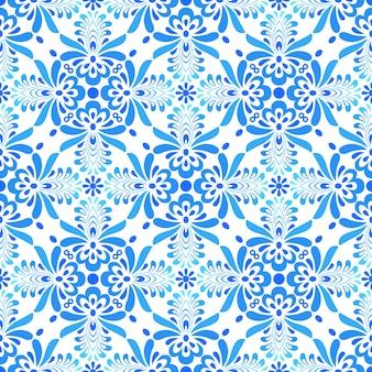 Modèle sans couture abstrait fleur ornementale bleu et blanc.