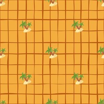 Modèle sans couture abstrait hawaii avec des formes de palmier vert et d'île. fond quadrillé orange.