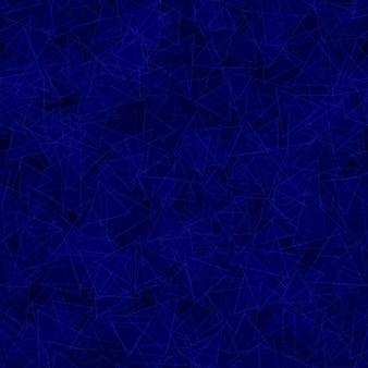 Modèle sans couture abstrait de triangles translucides distribués au hasard dans des couleurs bleues