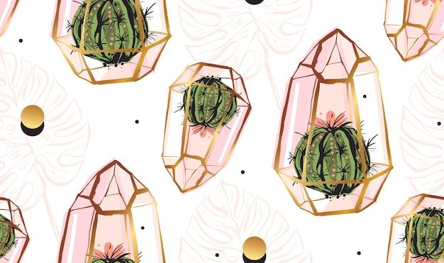 Modèle sans couture abstraite dessiné main avec terrarium doré