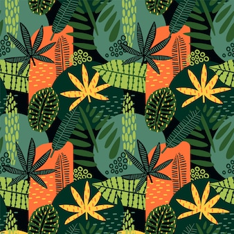 Modèle sans couture abstraite avec des feuilles tropicales.