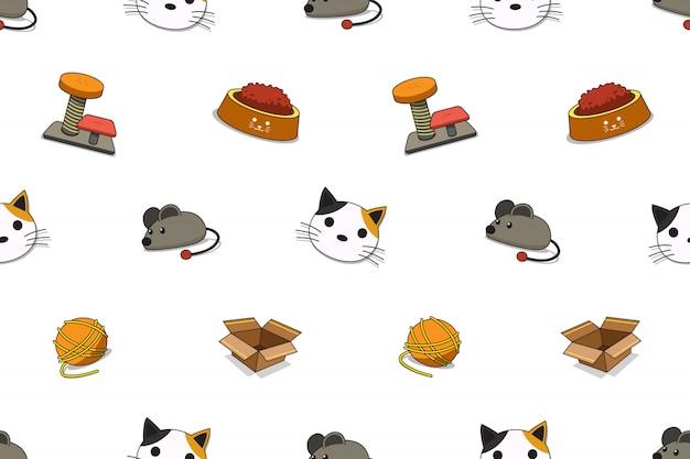 Modèle sans couture d'accessoires chat dessin animé