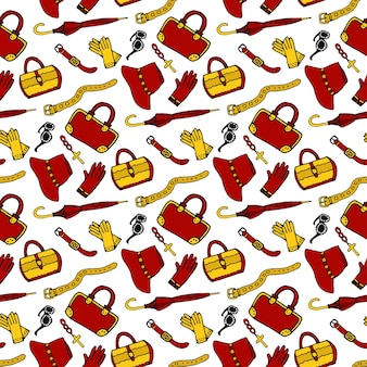 Modèle Sans Couture Avec Accessoires De Mode Femme. Sacs, Chaussures, Parapluie, Horloge, Sangle, Gants. Vecteur De Motif Dessiné à La Main De Fond Vecteur Premium