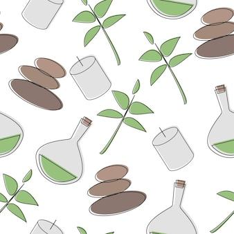 Modèle sans couture d'accessoires de salon spa - massage et pierres - illustration vectorielle sur fond blanc
