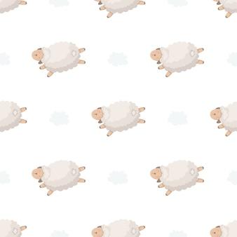 Modèle sans couture avec agneaux et nuages.