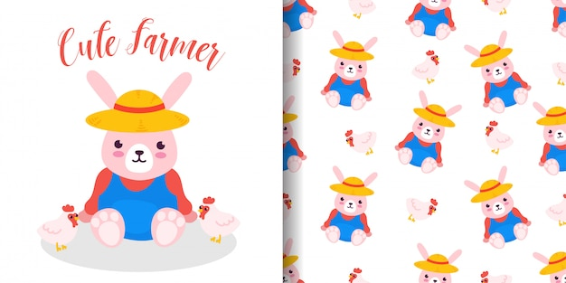 Modèle sans couture agriculteur lapin avec carte de douche de bébé illustration dessin animé