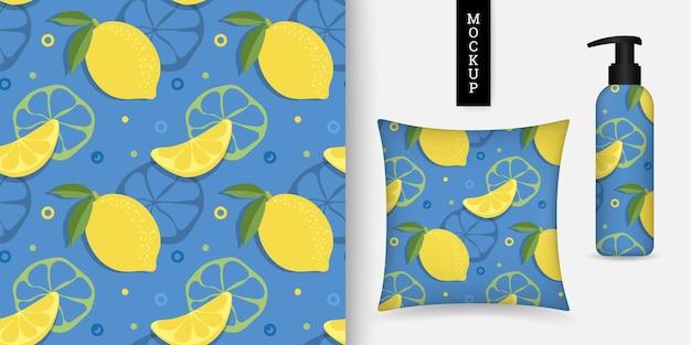 Modèle sans couture d'agrumes avec citron