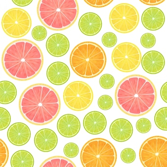 Modèle sans couture d'agrumes colorés citron.