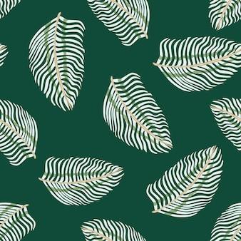 Modèle sans couture aléatoire abstrait avec des formes de silhouettes de feuille de fougère doodle. fond turquoise foncé.