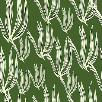 Modèle sans couture d'algues rétro aléatoire sur fond vert. toile de fond de feuillage sous-marin. fond d'écran de plantes marines. conception pour tissu, impression textile, emballage, couverture. illustration vectorielle.