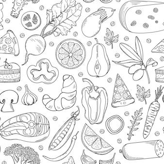 Modèle sans couture d'aliments dessinés à la main.