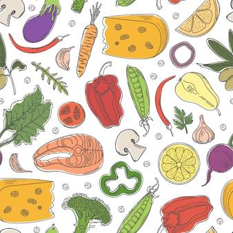 Modèle sans couture avec des aliments sains colorés.
