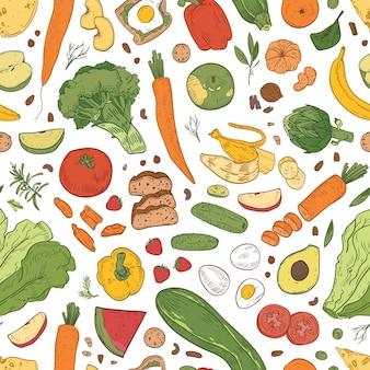 Modèle sans couture avec des aliments sains, des produits d'épicerie, des fruits biologiques, des baies et des légumes sur fond blanc.