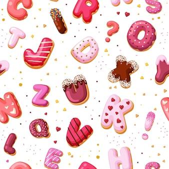 Modèle sans couture alphabet dessert. gâteaux de police de couleur à base de produits de boulangerie et de beignets avec crème sucrée éducative pour les enfants avec des lettres et des chiffres décoratifs. caramel de dessin animé de vecteur.