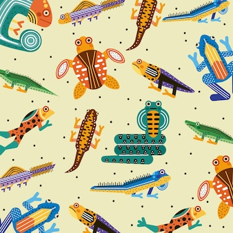 Modèle sans couture d'amphibiens mignons