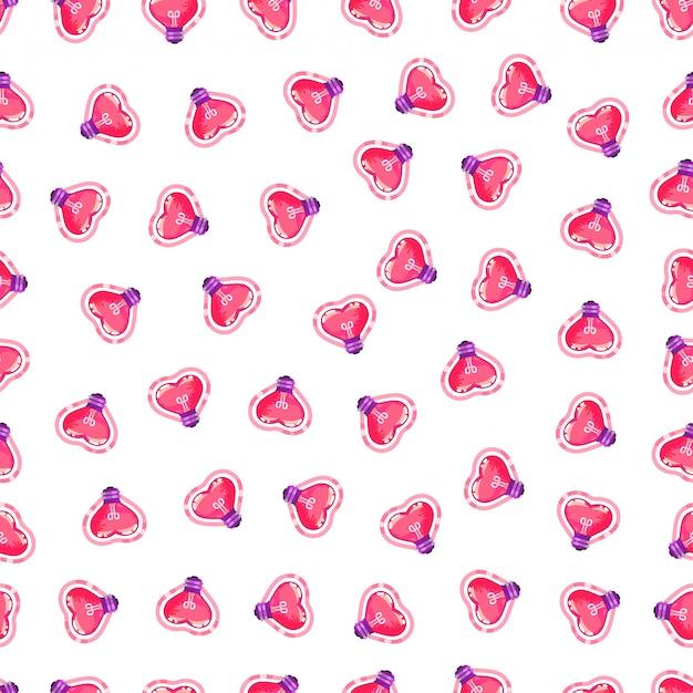 Modèle sans couture d'ampoule coeur rose