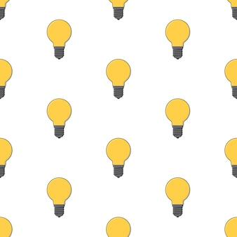 Modèle sans couture d'ampoule sur un fond blanc. illustration vectorielle de thème lampe jaune