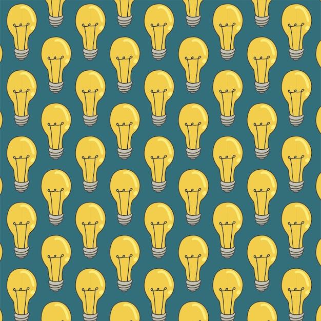 Modèle sans couture avec ampoule sur vert